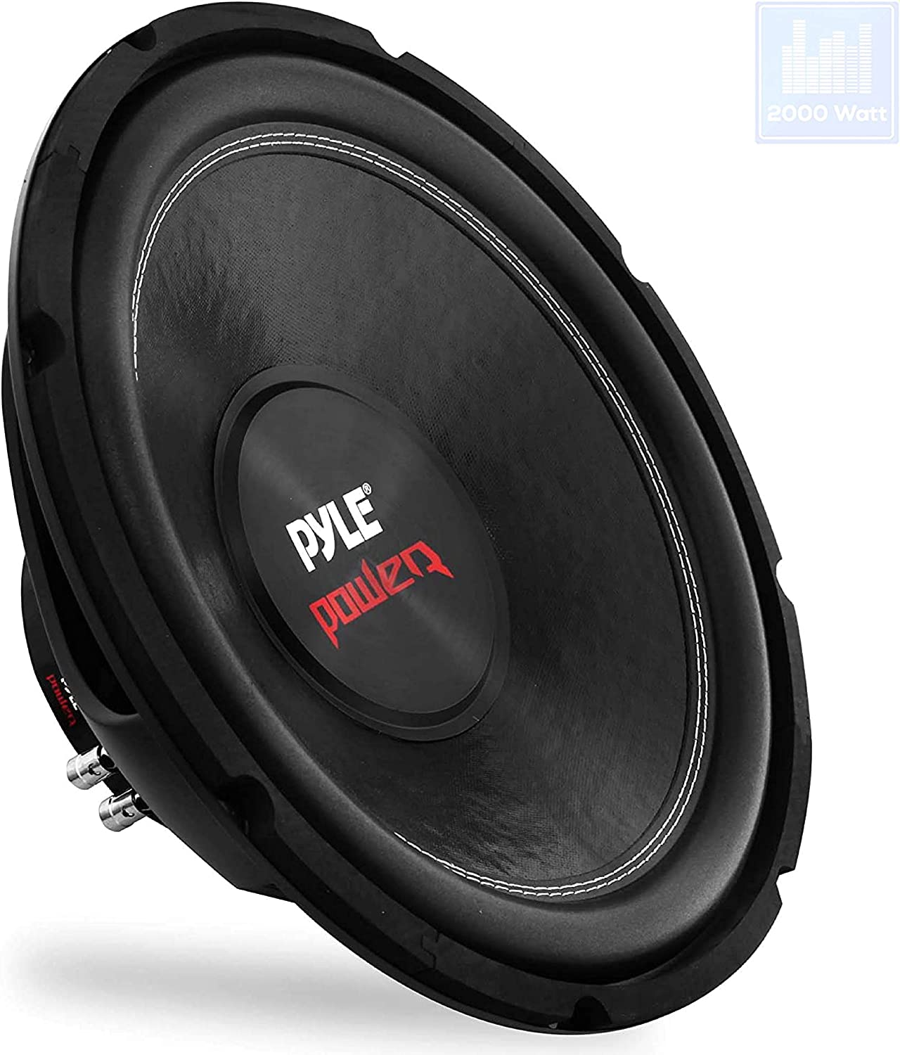 Car Vehicle Subwoofer Audio Speaker - 15inch Non-Pressed Paper Cone, Black Plastic Basket, Dual Voice Coil 4 Ohm Impedance, 2000 Watt Power, Foam Surround for Vehicle Stereo Sound System Pyle PLPW15D