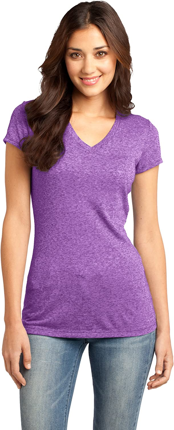 District Juniors Microburn VNeck Cap Sleeve Tee