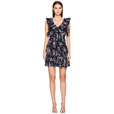 Rebecca Taylor Sleeveless Faded Floral Dress (Navy) Women