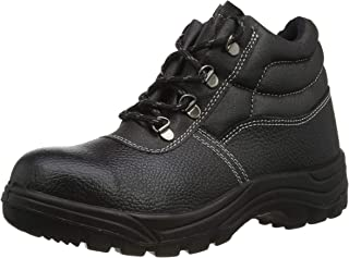 Himalayan 1415 Dual Density Leather Upper Safety Boot with Steel Toe Cap and Midsole, Black, Size