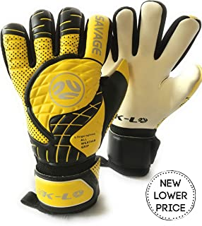 FINGERSAVE Goalkeeper Gloves by K-LO - Savage Goalie Glove Has Fingersave in All 5-Fingers to Prevent Injury and Improve Shot Blocking Sticky Palms.Youth &Adult Sizes