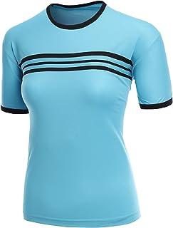 تي شيرت كول ماكس للنساء بأكمام قصيرة ورقبة مستديرة من القماش مع خطوط زرقاء مقاس XXXL