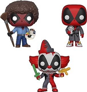 Funko 244 Marvel: Pop! Deadpool Playtime Collectors Deadpool Bob Ross, Deadpool in Robe, Deadpool Clown, Set