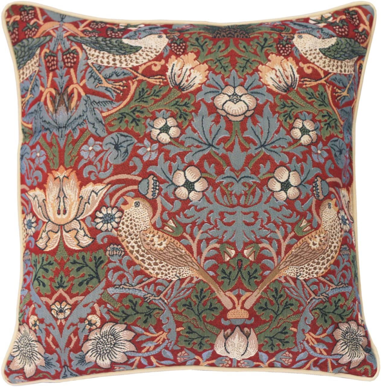 Amazon Com Signare Red Floral William Morris Cushion Cover Designer Decorative Sofa Couch Pillow 45x45 Cm Strawberry Thief Ccov Strd Home Kitchen