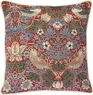 (Strawberry Thief Red) - William Morris Cushion Cover by Signare 45x45 cm Strawberry Thief Red (CCOV-STRD)