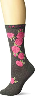 Ariat Women's Red Rose Mid-Calf Novelty Sock, Charcoal Heather, One Size