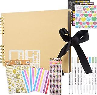 Album Photo, Album de Bricolage 80 Pages Papier d'artisanat d'album Photo, kit d'accessoires d'album Photo créatif à la Ma...