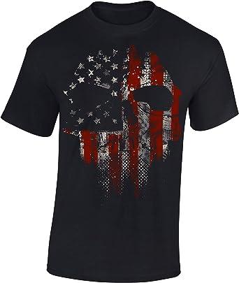 Camiseta: American Skull - Cráneo Americano - USA T-Shirt - Regalo Hombre-s y Mujer-es - Estados Unidos de América - United States - Bike-r Rock ...