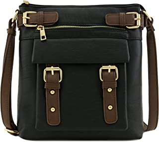 Front Pocket Medium Crossbody Bag with Buckles Accent