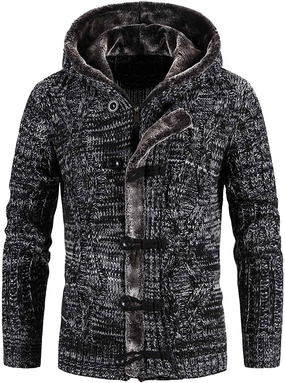 ZSBAYU Men's Fashion Zipper Hoodie Sweaters with Plush Hood, Casual Knitted Zipper Cardigan Sweaters Jackets for Men