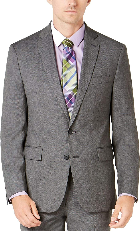 Ryan Seacrest Distinction Mens Suit Jacket Short Stretch Gray 36