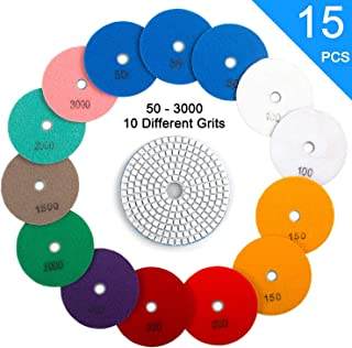 """ADVcer 15pcs 4"""" Wet Diamond Polishing Pads Set - 50 to 3000 Grit Hook and Loop Backing Sanding Discs - Ideal Buffing Kit for Granite Concrete Marble Stone Countertop Ceramic Floor Grinder or Polisher"""