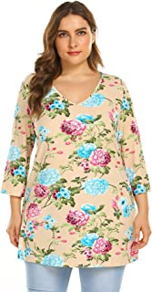 IN'VOLAND Women Plus Size 3/4 Sleeve Knit Printed Casual Tunic Top Loose Shirts (0X-4X)