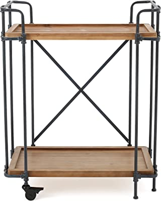 Christopher Knight Home Kanaan Firwood and Iron Coffee Cart, Antique Finish