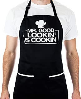Funny Apron for Men - Mr. Good Looking is Cooking - BBQ Grill Apron for a Husband, Dad, Boyfriend or any Friend that Cooks Like a Master Chef by Aller Home and Kitchen