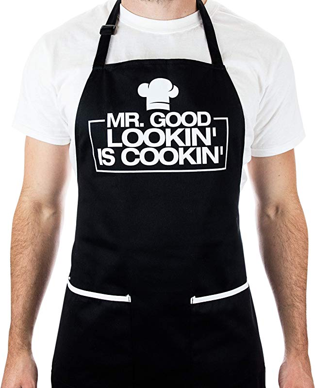Funny Apron For Men Mr Good Looking Is Cooking BBQ Grill Apron For A Husband Dad Boyfriend Or Any Friend That Cooks Like A Master Chef By Aller Home And Kitchen