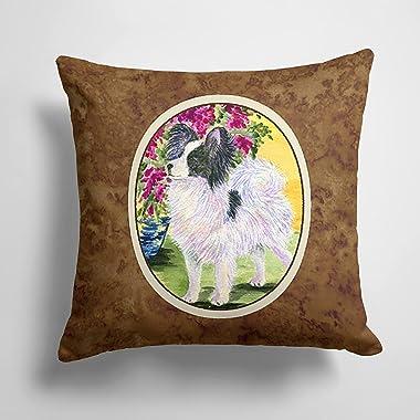 Caroline's Treasures SS8477PW1414 Papillon Decorative Canvas Fabric Pillow, 14Hx14W, Multicolor
