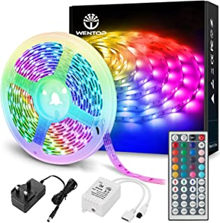 WenTop Led Strip Lights with Remote 5m, Led Lights for Bedroom, Home, Wall, Party, Lighting and Decorative, SMD 5050 RGB M...