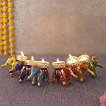 TIED RIBBONS Tealight Candle Holder for Home Décor - Elephant Shaped Tealight Candle Holder for Diwali Decoration (Pack of 6)
