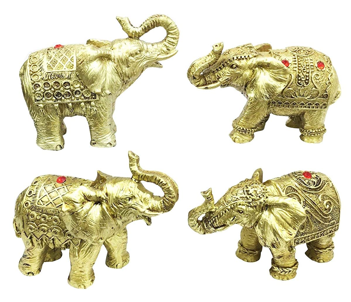 Figurine Thai Buddha Ganesh Elephant with Trunk Up Set of Four Pcs Miniature