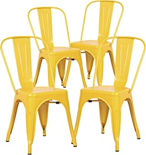Poly and Bark Trattoria Kitchen and Dining Metal Side Chair in Yellow (Set of 4)