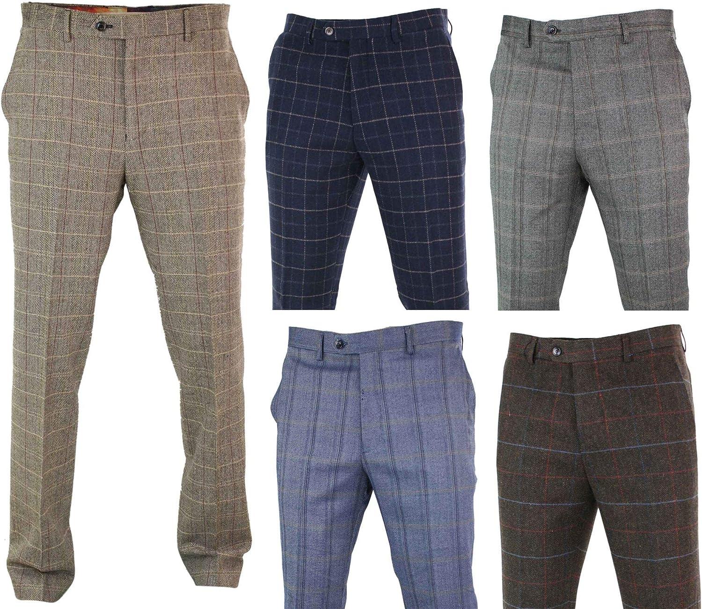 1920s Men's Pants History: Oxford Bags, Plus Four Knickers, Overalls Mens Herringbone Tweed Check Peaky Blinders Trousers Wool Vintage Classic Retro Oak-Brown-Baron 30  AT vintagedancer.com