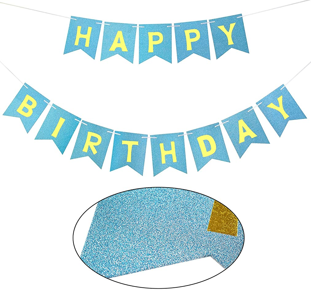 Brcohco Happy Birthday Banner Sparkly Blue Glitter with Gold Letters Hang Bunting Birthday Party Decorations Supplies