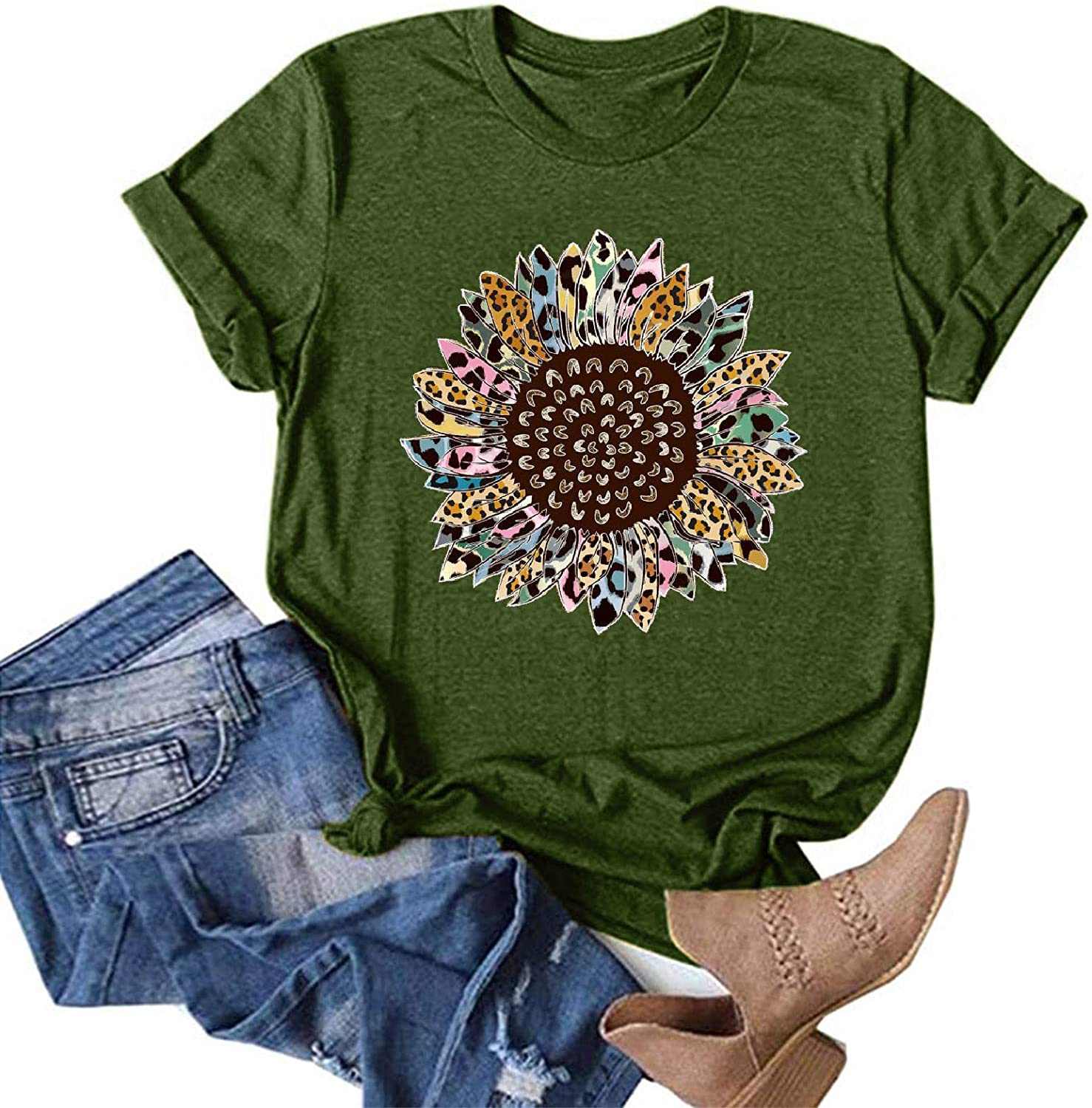 AODONG T-Shirts for Women,Women's Summer Tops Funny Graphic T-Shirts Floral Printed Casual Loose Blouses Tunic Tees