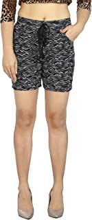 Fireage Women's Pure Cotton Printed Short with Side Pockets