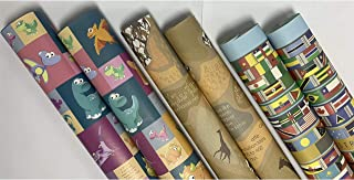 eVincE 3 assorted design Gift Wrapping paper roll   All country Flags   Giraffe   Dinosaurs Papers with fun facts   all oc...