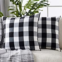 Foindtower Pack of 2 Decorative Cotton Buffalo Throw Pillow Covers Classic Check Plaid Gingham Cushion Cover Rustic Farmho...