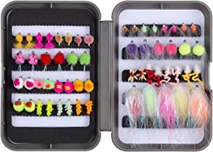 Bassdash Trout Lures Steelhead Salmon Fishing Flies Assortment 57/58pcs Include Dry Wet Flies Nymphs Streamers Eggs, Fly Lure Kit with Fly Box