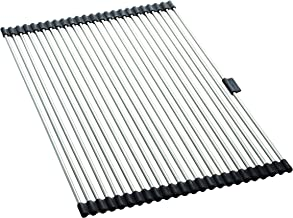 Farberware Roll up Dish Drying Over the Sink Rack Mat with Stainless Steel Wires, Large, Silver/Black