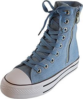 S-3 Women's Lace-up Extra Hi Top Cap Toe Zipper Casual Fashion Sneaker