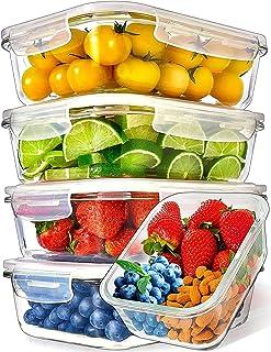 Recipientes de Vidrio para Alimentos (Juego de 5 x 1000ml) Prep Naturals - Envases de Cristal con Tapas Herméticas para la Cocina - Contenedores para Horno, Microondas, Congelador y Lavavajillas