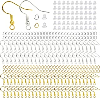 900 Hypo-allergenic Earring Making Supplies Kit with 150 PCS Silver,150 PCS Gold 925 Earring Hooks, 300 PCS Jump Rings and...