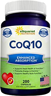 CoQ10 (400mg Max Strength, 200 Capsules) - High Absorption Vegan Coenzyme Q10 Powder - Ubiquinone Supplemen...