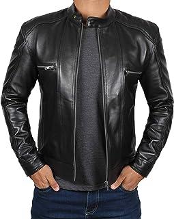 Blingsoul Black Leather Jacket for Men - Motorcycle Style Mens Leather Jacket