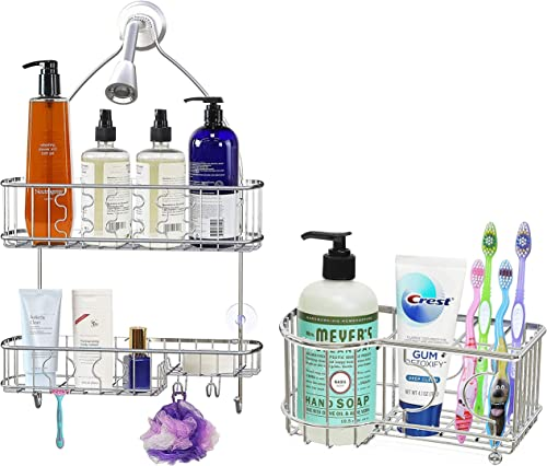 high quality Simple Houseware Bathroom Hanging Shower Head 2021 discount Caddy Organizer + Multi-Functional 6 Slots Toothbrush Holder, Chrome online sale