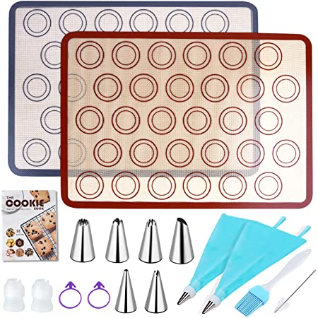 "JoyCat 2 Silicone Baking Mats Set, Non-Stick Sheet Mat, Recipe Booklet, 6 Piping Tips, 2 Piping Bags, 2 Couplers, Cleaning and Pastry Brush, for Making Cookies Macarons, Bread and Pastry (16.5""x11.6"")"