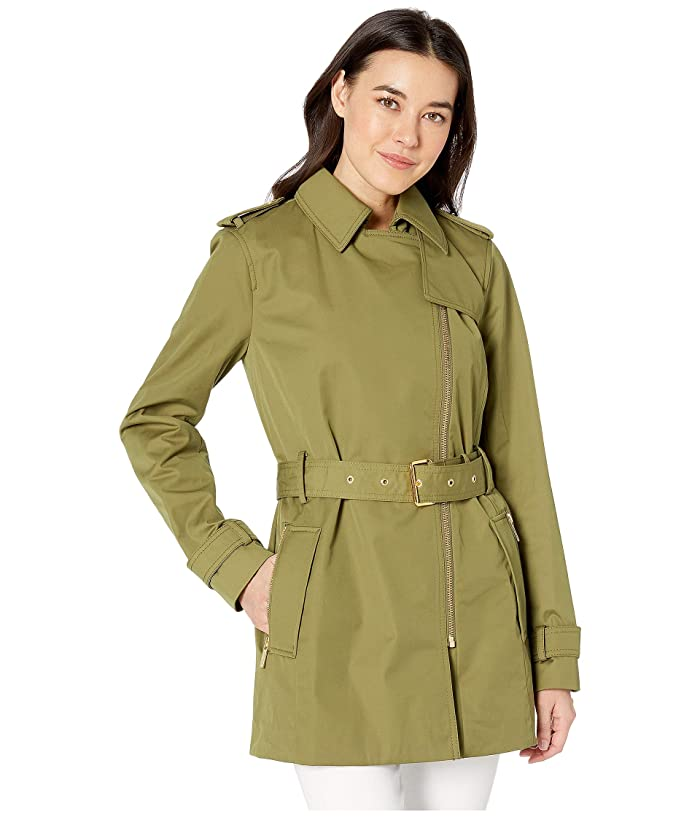 MICHAEL Michael Kors Zip Front Trench (Smoky Olive) Women