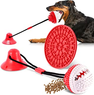 FiGoal Dog Chewing Toy with SuctionCup and Snack Pad (Red) Interactive Dog Toys Indestructible Dog Chew Toy for Aggressive...