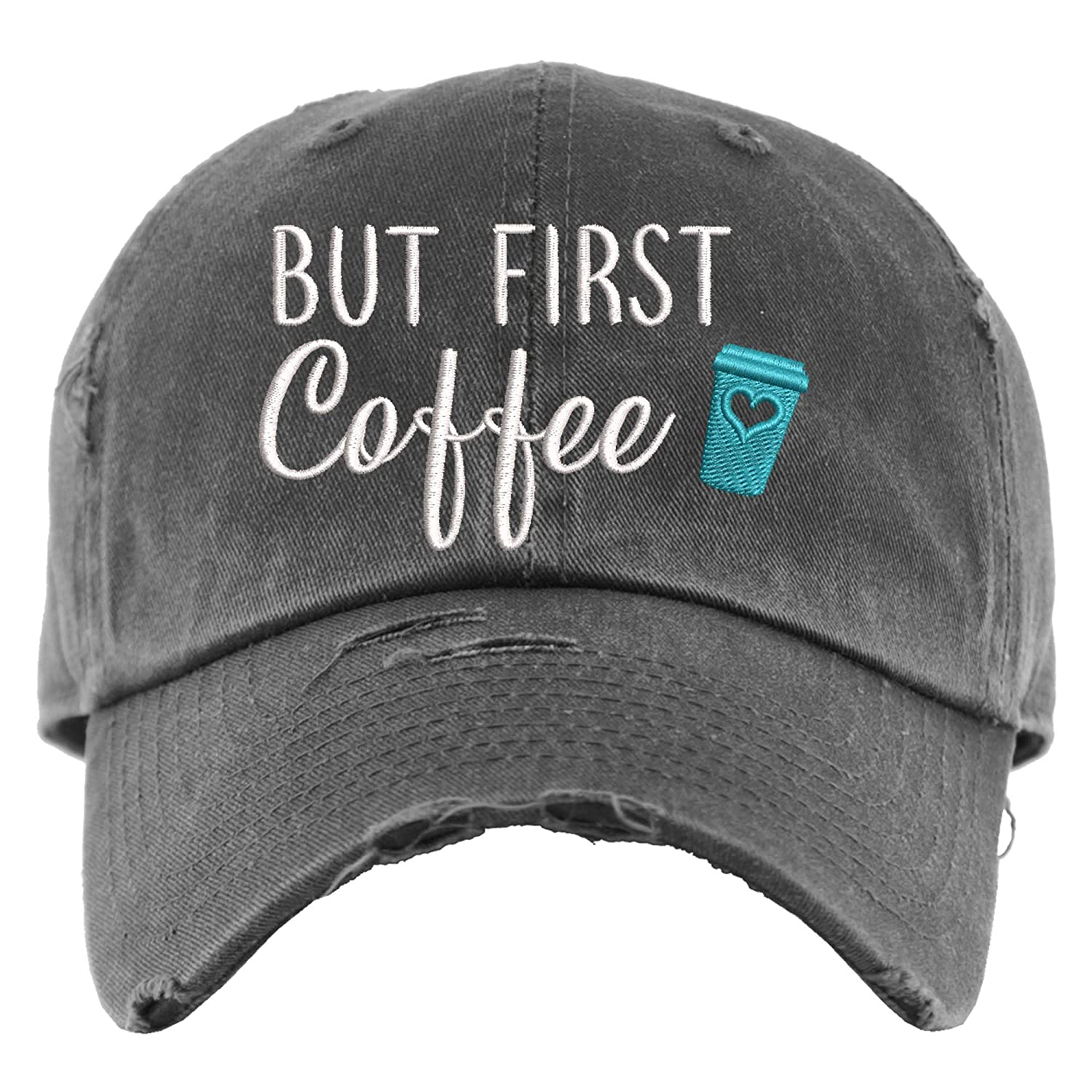 But First Coffee Sale price Hat Distressed Cap OR Ponytail Baseball New popularity