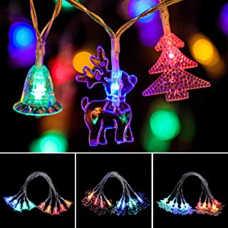 3 Styles Christmas String Light Battery Operated LED Christmas Tree, Windbell, Deer Light String Decoration for Christmas Wedding Party Indoor and Outdoor, 16.5 Ft 30 LED Bulbs