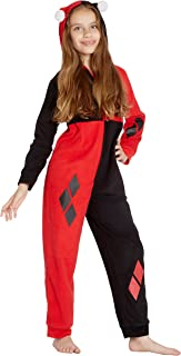 DC Comics Girls' Harley Quinn Costume One Piece Union Suit Critter Pajama Outfit
