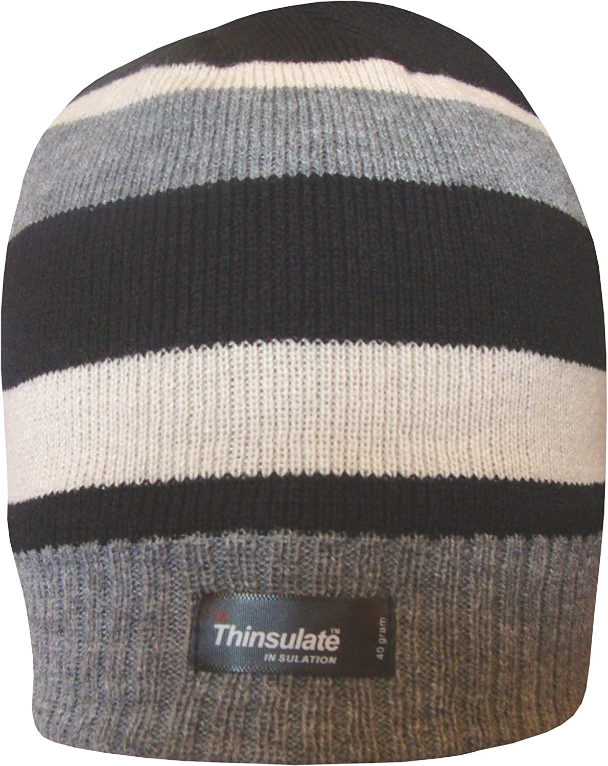 TeddyTs Boys Striped Design Thermal Knit Fleece Lined Thinsulate Winter Beanie Hat
