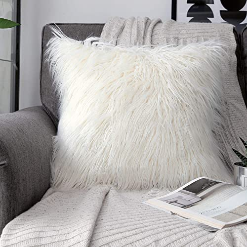 """lowest phantoscope Decorative New Luxury Series online Merino Style Fur Throw Pillow Case new arrival Cushion Cover 18"""" x 18"""" 45cm x 45cm (Off-White) online"""