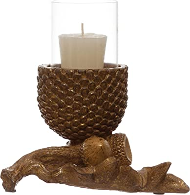 """Creative Co-Op L x 4-3/4""""W x 6-1/4""""H Resin Pinecone w/Glass Insert, Bronze Finish Tealight and Votive Holders, Multi"""