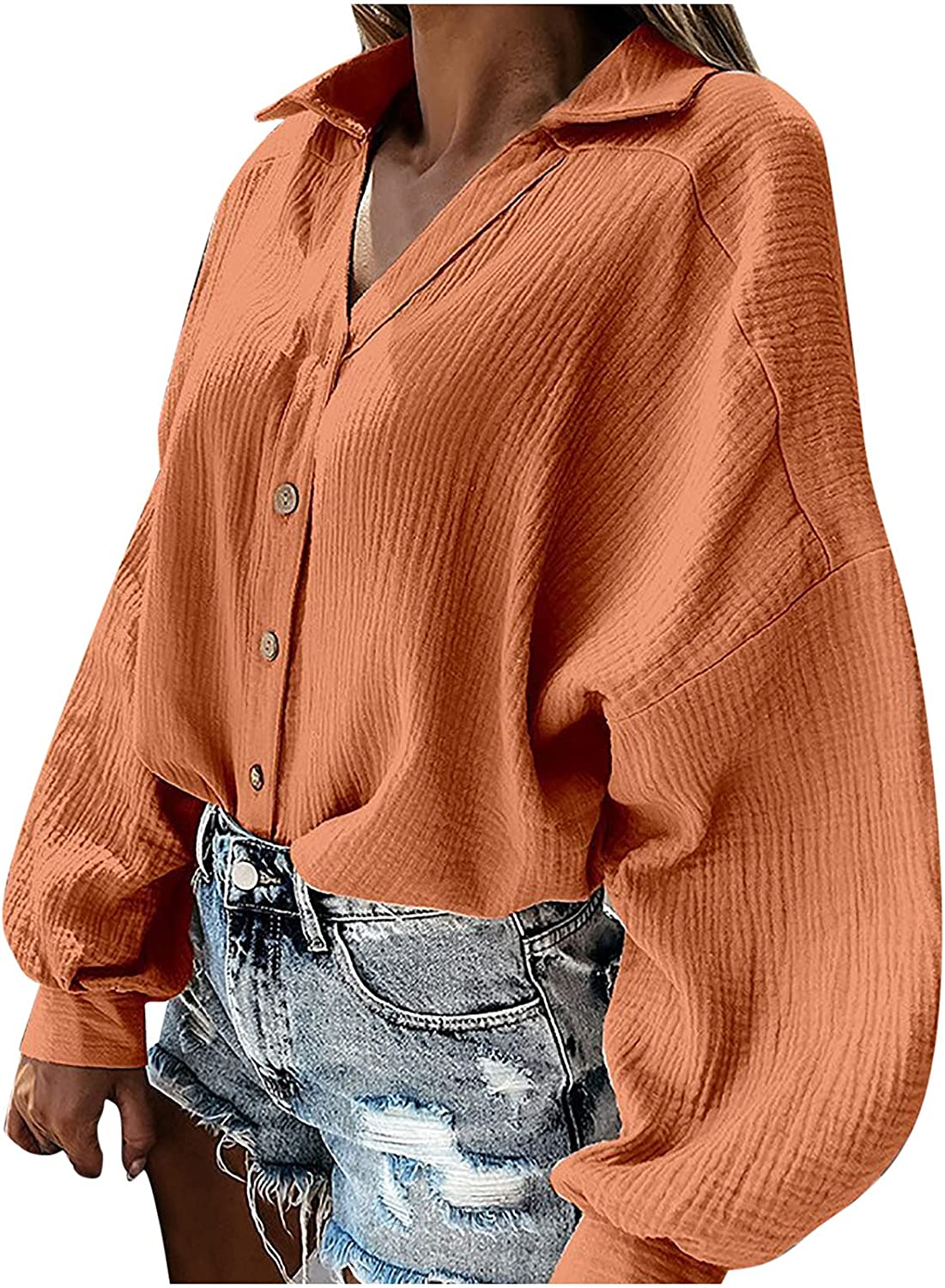 Women Large special Directly managed store price Business Casual Tops Solid V-Neck Button Fas Cardigan Down