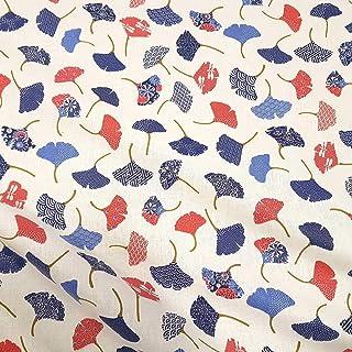 Werthers Stoffe Stoff Baumwolle Meterware Ginkgo Ginko blau